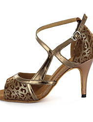 Anpassbare Damen Kunstleder Ober Modern Dance Schuhe Sandaletten mit Buckie