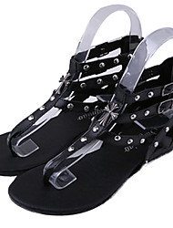 lulu Peep-Toe Rivet Pure Color Sandals(White,Black)