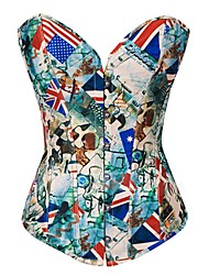 Cindysmile American Color Flag Printing Corset (Corset+T Back) In Green