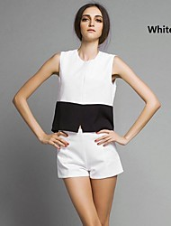 Women's Casual/Daily Simple Summer Blouse,Patchwork Crew Neck Sleeveless White / Black Polyester Thin