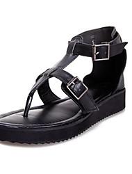 Frauen Flache Heel T-Strap Sandaletten mit Schnallenschuhe