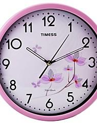 "Timess ™ 12 ""H Fleurs roses muet superbe métallique Horloge murale"