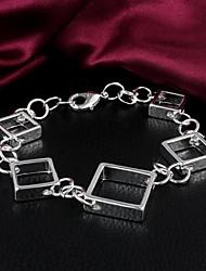 MISS U 925 Silver Plated Square Bracelet
