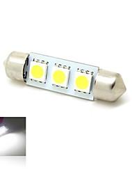 39mm 1W 3x5050 SMD LED 50 lm 6000K White Lights Girlande-Karte Kennzeichen-Licht-Lampen-Birnen für Auto (DC 12V)
