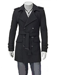 MeTe Men's Korean Style Double-Breasted Trench Coat(Black)