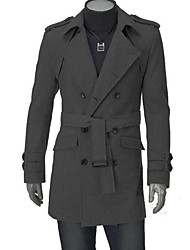 LangTuo Korean Fashion Epaulets Double Breasted Coat(Dark Gray)