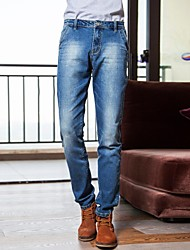 Men's  Heavy Washed Jeans with Leather-strap Decoration