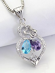 AS 925 Silver jewelry Color zirconia phase Pendant