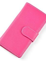 Women 's de alta calidad de la manera del cuero genuino del Solid Wallet Embragues de Ladie con 14 ranuras de tarjeta