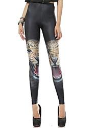Spandex Negro Animal Print Leopard Leotardos de la Mujer PinkQueen