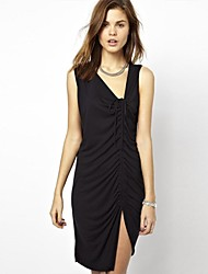 Women's Sexy / Party Solid Sheath Dress , V Neck Mini Cotton
