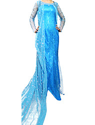 Ghiacciato Ice Queen Elsa Costume Halloween Party Deluxe per donne blu poliestere