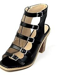 Chaussures Femme - Habillé / Soirée & Evénement - Noir / Argent - Gros Talon - Talons / Gladiateur - Sandales - Cuir