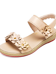 Leather Girls' Flat Heel Sling Back Sandals with Flower Shoes(More Colors)