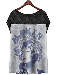 Camicia in raso di seta a maniche corte Stampa Digitale Donna