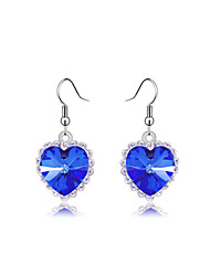 LAIQI Ocean Heart Diamond Pendant Earrings