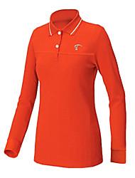 TTYGJ Women's Polyester+Spandex Long Sleeve Orange Golf Shirt