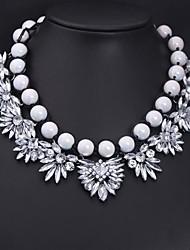 Fashion White Gemstone Beaded Woven Necklace