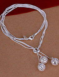 Fashion Three Ball Pendant Silver Plated Snake Chain Foreign Trade Rolo Necklace(White)(1Pc)
