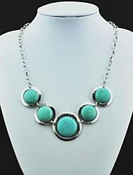 Tíbet de la vendimia del collar de la aleación de plata de la antigüedad de la turquesa colgante (Verde) (1 PC)