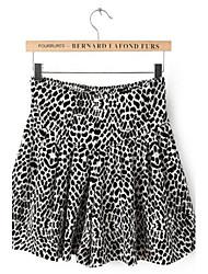 Moda feminina Leopard curto Saias