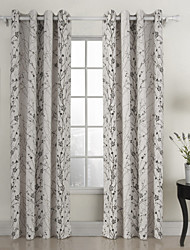 Two Panels Country Floral Botanical White Living Room Cotton Curtains Drapes