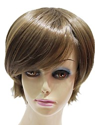 Capless Synthetic Light Brown Short Straight Synthetic Wigs For Lady