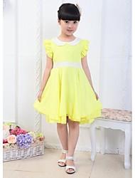 Lovely Fashion Pure Color Vestido de renda da menina