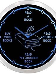 nc0912 Avid Reader libro Romanzi Worm Neon LED Orologio da parete