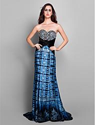 Formal Evening Dress - Print Plus Sizes / Petite Sheath/Column Sweetheart Sweep/Brush Train Chiffon