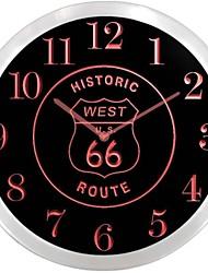 nc0971 Route 66 Est Historic Neon LED Wall Clock Accedi