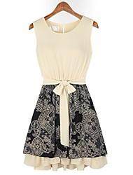 Ricci Women's Sleeveless Printed Screen Color Dress 2683