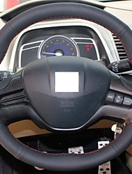 XuJi ™ Black Genuine Leather Steering Wheel Cover for Honda Civic 2006-2009 Old Civic