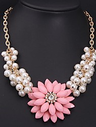 Women's Fashion Pearl Gemstone Flowers Necklace