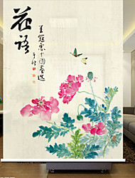Oriental Chinese Ink Painting Style Floral Roller Shade