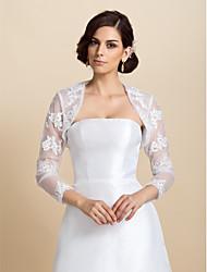 Long Sleeve Lace Wedding/Party Evening Jackets/Wraps(More Colors) Bolero Shrug