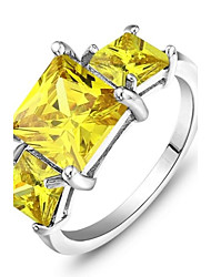 Classic Best Cocktail Party Ring 2014 Yellow Crystal Lady Jewelry Silver Women Ring