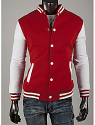LangTuo Classic Baseball Slim Short Type Hoodie Cardigan Coat(Red)
