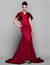 TS Couture® Formal Evening Dress - Elegant / Vintage Inspired Plus Size / Petite Trumpet / Mermaid V-neck Court Train Satin with Side Draping
