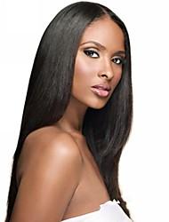 100% não transformados Virgem Cabelo 18inch Lace Wig Full Oriente Parte reta de seda preta Natural Brasileiro
