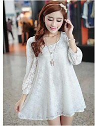 Korean Style Three Quarter Sleeve Maternity Long Lace Tops Pregnant Women Mini Dress