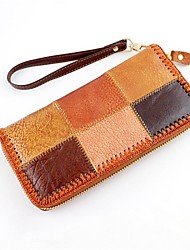 New Trendy Colorful Seamed Soft PU Leather Zipper Ladies Hand Purse