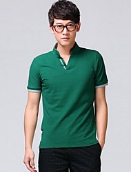 Men's Stand Collar Casual Short Sleeve Pure Color Polos