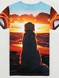 Men's Western All Match 3D Sunset Dog Pattern T Shirt