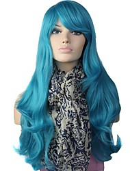 Capless High Quality Long Big Wave Synthetic Blue Party Wig Side Bang