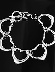 Heart Design Alloy Silver Plated Charm Bracelet