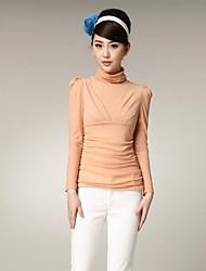 Yiman ® Женская Высокий воротник кальян Рукав Slim Fit футболку