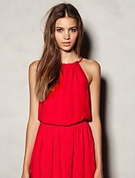 Women's Beach A Line / Loose Dress,Solid Halter Mini Sleeveless Red / White / Black / Yellow / Purple Silk Summer
