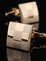 xinclubna® 1,5 centímetros de moda de cobre e ouro cufflink dos homens (ouro) (1pair)