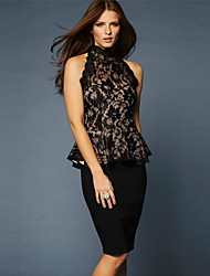 Women's Lace Black T-shirt , Halter Sleeveless Lace